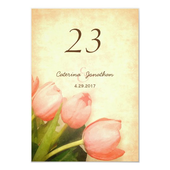 Pink tulips spring wedding table number