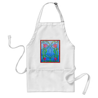 Pink Tulips Stained Glass Look Adult Apron
