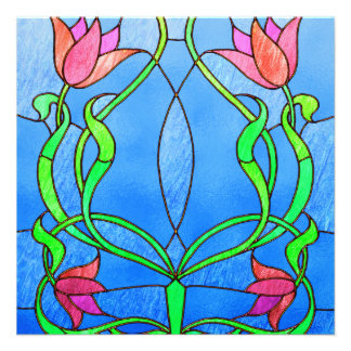 Pink Tulips Stained Glass Look Personalized Announcements