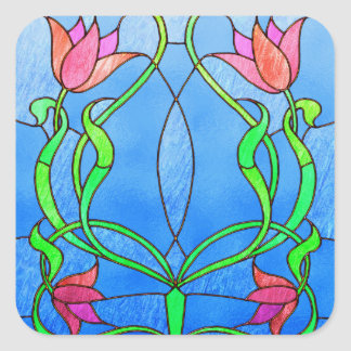 Pink Tulips Stained Glass Look Square Sticker