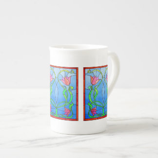 Pink Tulips Stained Glass Look Tea Cup