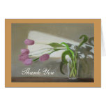 Pink Tulips Thank You Note Card