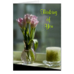 Pink Tulips Thinking of You Card