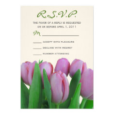 Pink Tulips Wedding RSVP Invitation