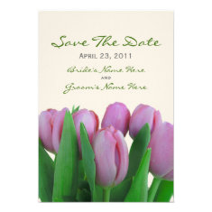 Pink Tulips Wedding Save The Date Custom Invites