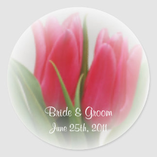 Pink Tulips Wedding Stickers
