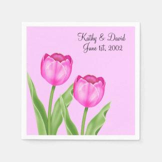 Pink Tulips Wedding Disposable Napkins