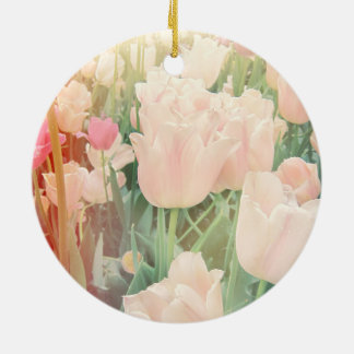 Pink Tulips with Light Leaks Ceramic Ornament