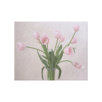 Pink Tulips Wrapped Canvas