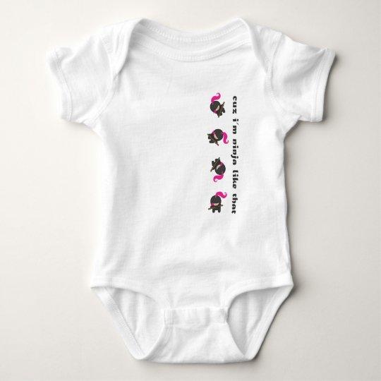 Pink Tumbling Ninja Baby Bodysuit