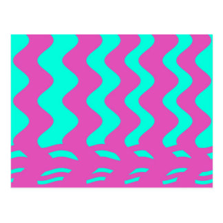 pink turqouise stripes postcards