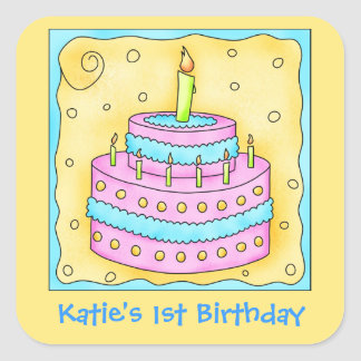 Pink Turquoise 1st Happy Birthday Cake Square Sticker
