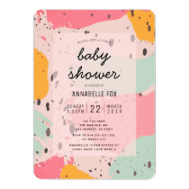 Pink Turquoise Abstract Baby Shower Invitation