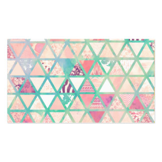 Pink Turquoise Abstract Floral Triangles Patchwork Business Card