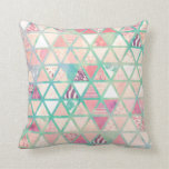 Pink Turquoise Abstract Floral Triangles Patchwork Throw Pillows
