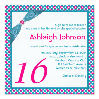 Pink, Turquoise and White Polka Dot Sweet 16 Card