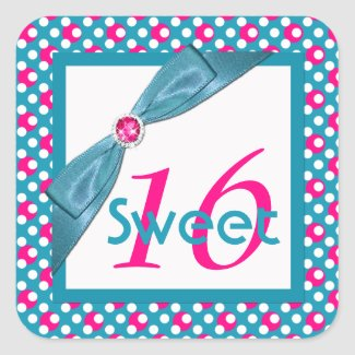 Pink, Turquoise, and White Sweet 16 Square Sticker sticker