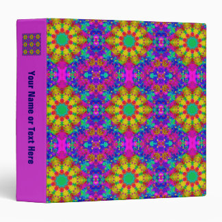 Pink Turquoise and Yellow Retro Pattern Binder