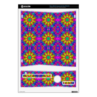 Pink Turquoise and Yellow Retro Pattern Decal For The Xbox 360 S