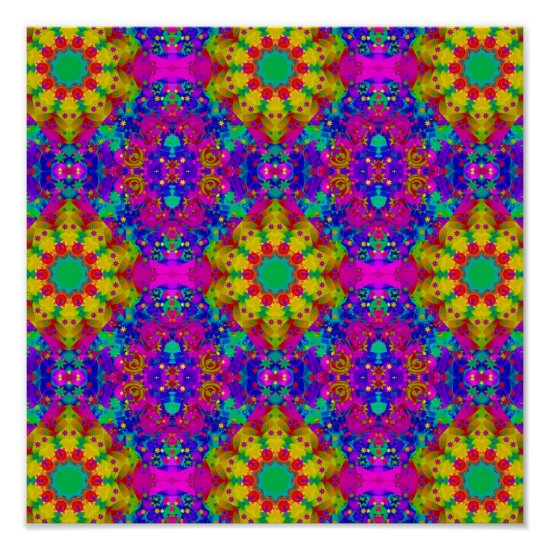 Pink Turquoise and Yellow Retro Pattern Poster