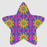 Pink Turquoise and Yellow Retro Pattern Star Sticker