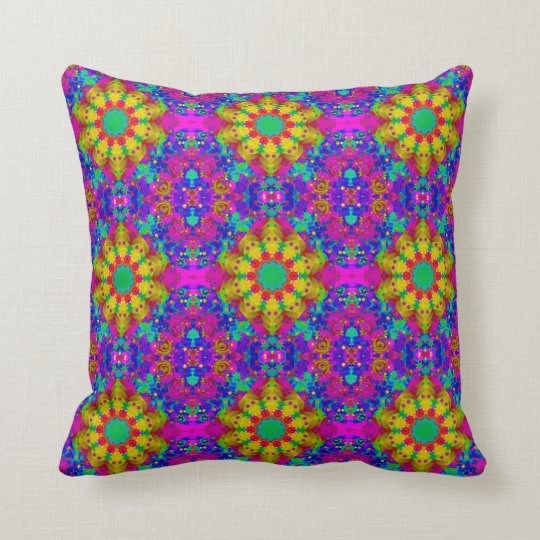 Pink Turquoise and Yellow Retro Pattern Throw Pillow