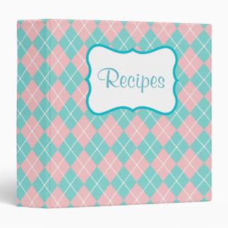 Pink Turquoise Argyle Recipe Binder
