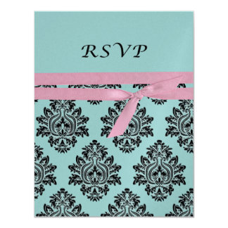 Pink & turquoise baby shower RSVP 4.25x5.5 Card