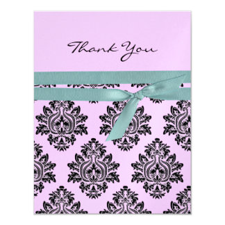 Pink & turquoise baby shower Thank You 4.25x5.5 Card