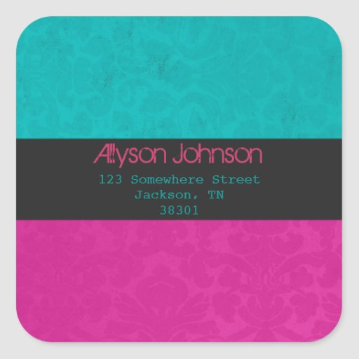 Pink & turquoise Background Address Labels Round Sticker