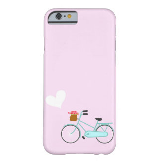 Pink Turquoise Bicycle with Flower Basket Heart Barely There iPhone 6 Case