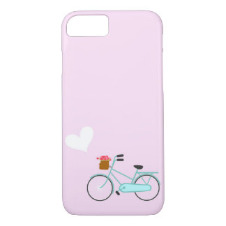 Pink Turquoise Bicycle with Flower Basket Heart iPhone 7 Case