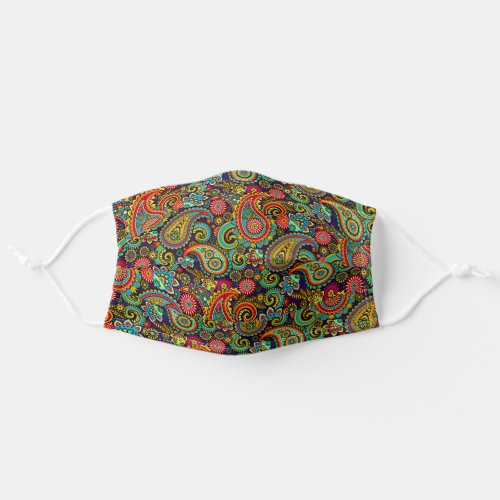 Pink Turquoise Blue Orange Indian Floral Paisley Cloth Face Mask