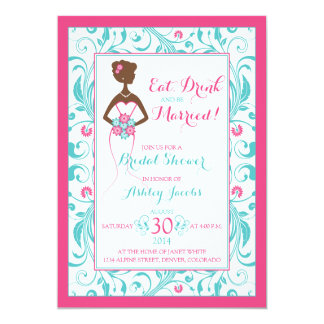 Pink Turquoise Bride Eat Drink Bridal Shower Card