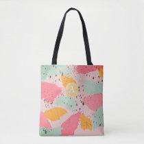 Pink Turquoise Brush Strokes Monogram Tote Bag