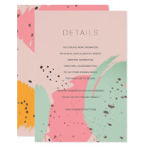 Pink Turquoise Brush Strokes Wedding Details Card