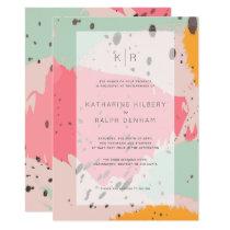 Pink Turquoise Brush Strokes Wedding Invitation