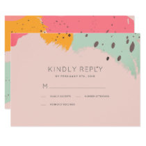 Pink Turquoise Brush Strokes Wedding RSVP Card