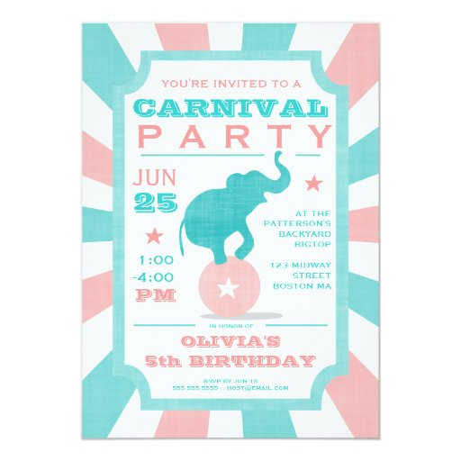 Pink | Turquoise Carnival Party Big Top Birthday 5x7 Paper Invitation Card