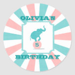 Pink | Turquoise Carnival Party Big Top Birthday Stickers