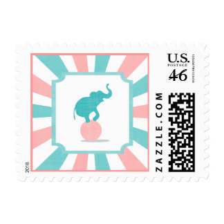 Pink Turquoise Carnival Party Big Top Postage