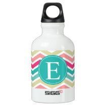 Pink Turquoise Chevron Monogram Aluminum Water Bottle