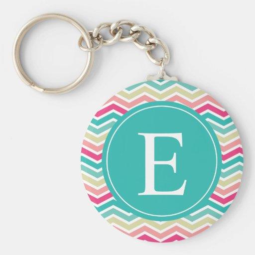 Pink Turquoise Chevron Monogram Basic Round Button Keychain