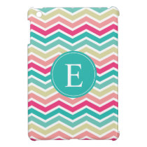 Pink Turquoise Chevron Monogram Cover For The iPad Mini