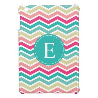 Pink Turquoise Chevron Monogram iPad Mini Cover