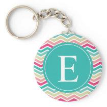 Pink Turquoise Chevron Monogram Keychain