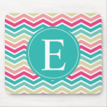 Pink Turquoise Chevron Monogram Mouse Pad