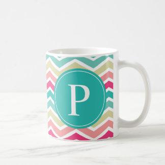 Pink Turquoise Chevron Monogram Coffee Mug