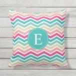 Pink Turquoise Chevron Monogram Outdoor Pillow