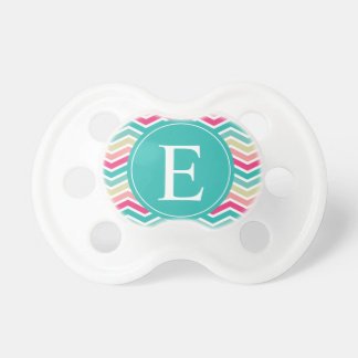 Pink Turquoise Chevron Monogram Baby Pacifiers